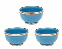 "Moroccan Ceramic Bowls Triple Pack with Silver Edge Handmade in Morocco. 8 cm / 3"" (Turquoise Blue)"
